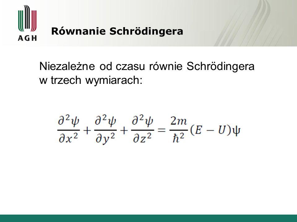 Równanie Schrödingera Niezależne od czasu równie Schrödingera w trzech wymiarach: