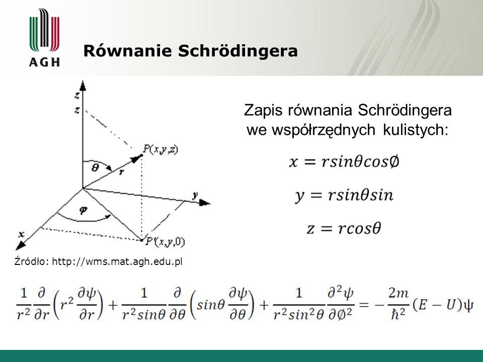 Równanie Schrödingera Źródło: http://wms.mat.agh.edu.pl Zapis równania Schrödingera we współrzędnych kulistych: