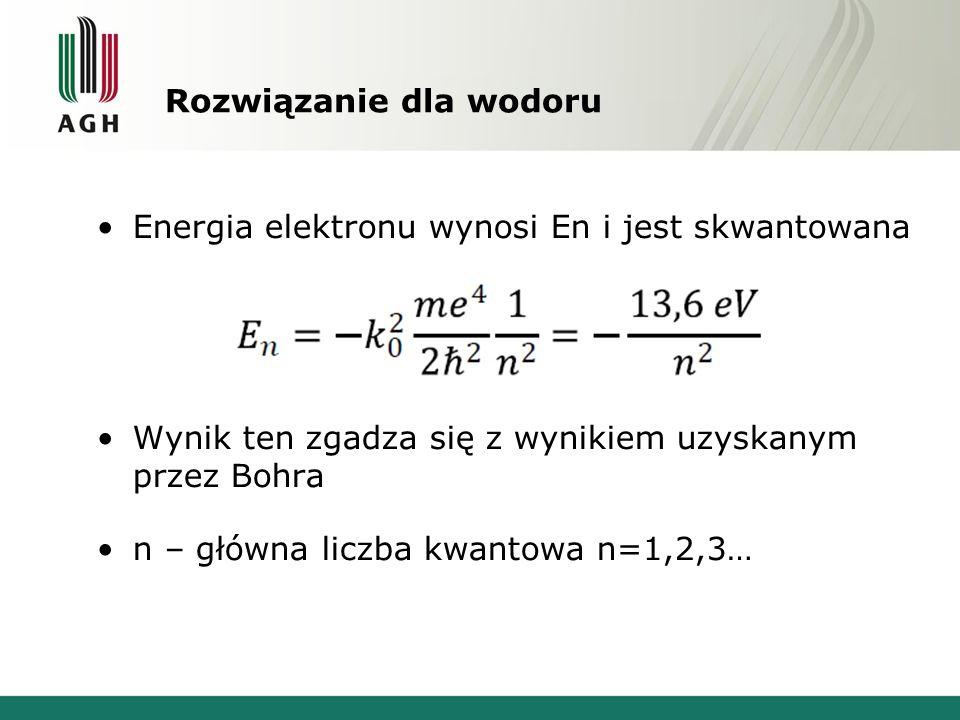 Rozwiązanie dla wodoru Energia elektronu wynosi En i jest skwantowana Wynik ten zgadza się z wynikiem uzyskanym przez Bohra n – główna liczba kwantowa n=1,2,3…