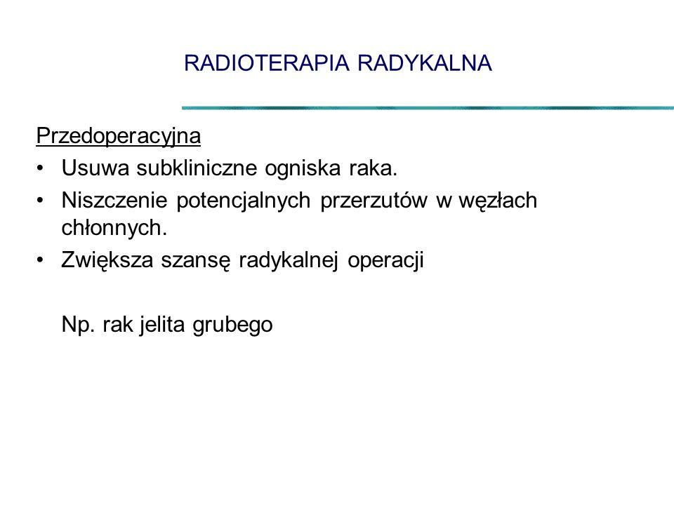 RADIOTERAPIA RADYKALNA Przedoperacyjna Usuwa subkliniczne ogniska raka.