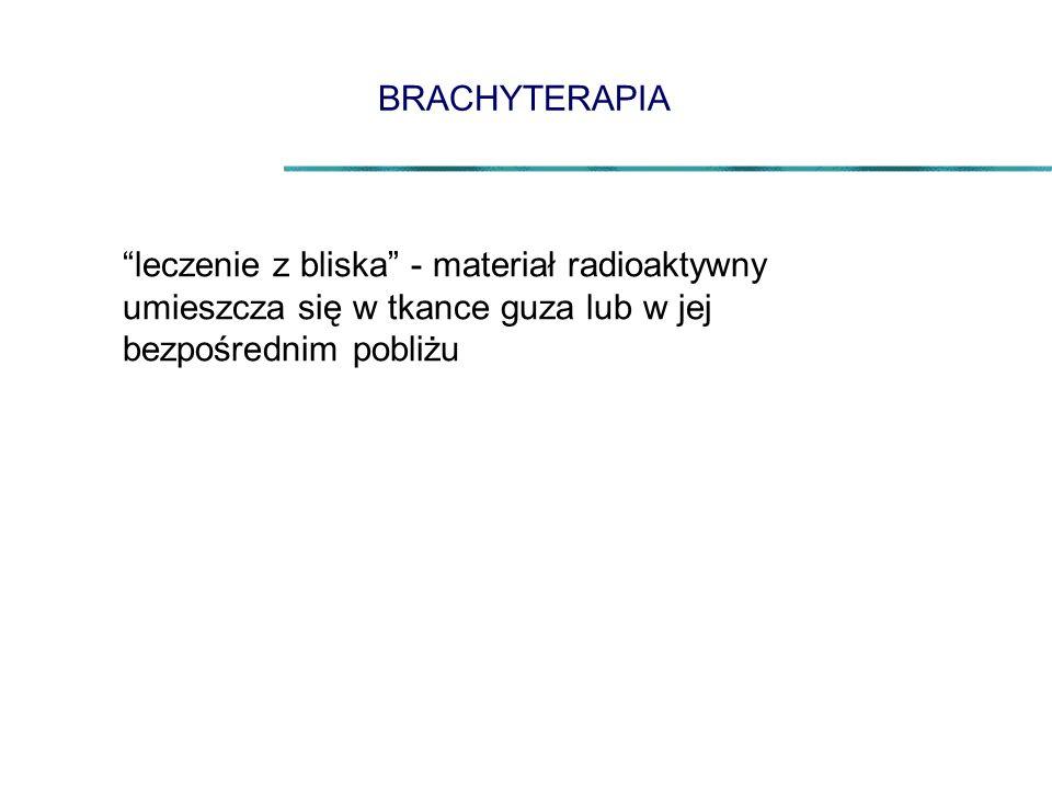 leczenie z bliska - materiał radioaktywny umieszcza się w tkance guza lub w jej bezpośrednim pobliżu