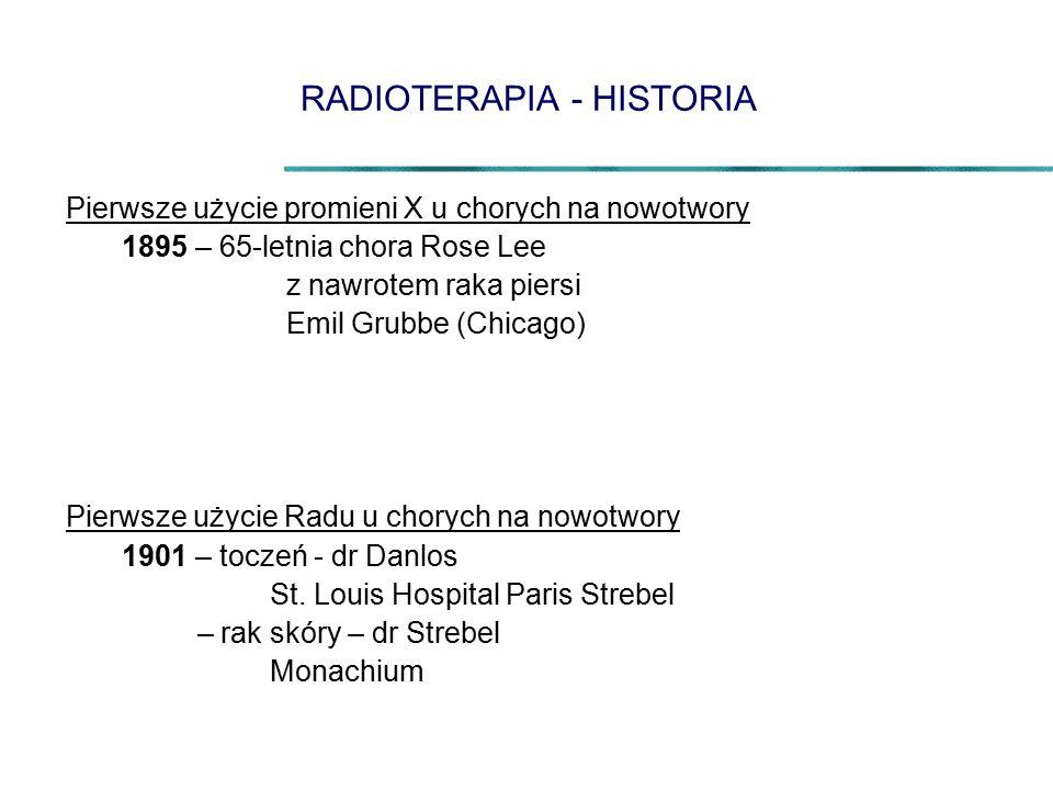 RADIOTERAPIA - HISTORIA Pierwsze użycie promieni X u chorych na nowotwory 1895 – 65-letnia chora Rose Lee z nawrotem raka piersi Emil Grubbe (Chicago) Pierwsze użycie Radu u chorych na nowotwory 1901 – toczeń - dr Danlos St.