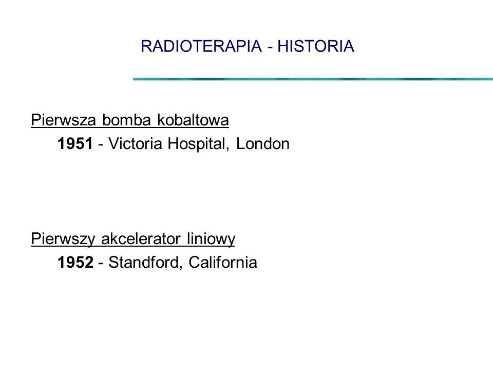 RADIOTERAPIA - HISTORIA Pierwsza bomba kobaltowa 1951 - Victoria Hospital, London Pierwszy akcelerator liniowy 1952 - Standford, California