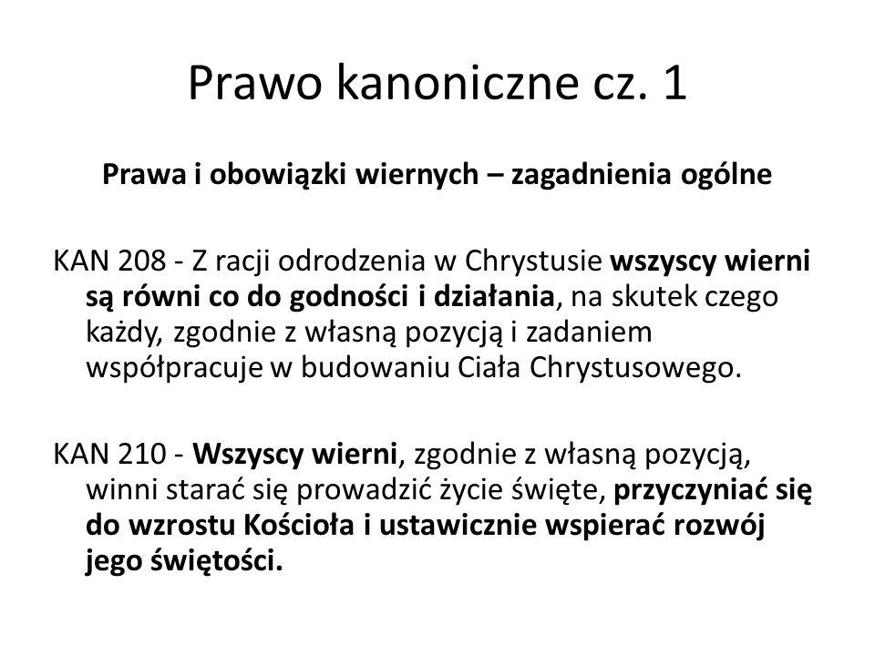 Prawo kanoniczne cz.1 Prawa wiernych KAN 223 - § 1.