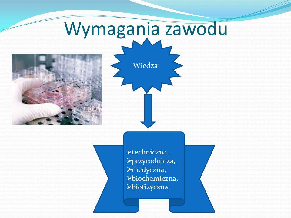 Wymagania zawodu Wiedza:  techniczna,  przyrodnicza,  medyczna,  biochemiczna,  biofizyczna.