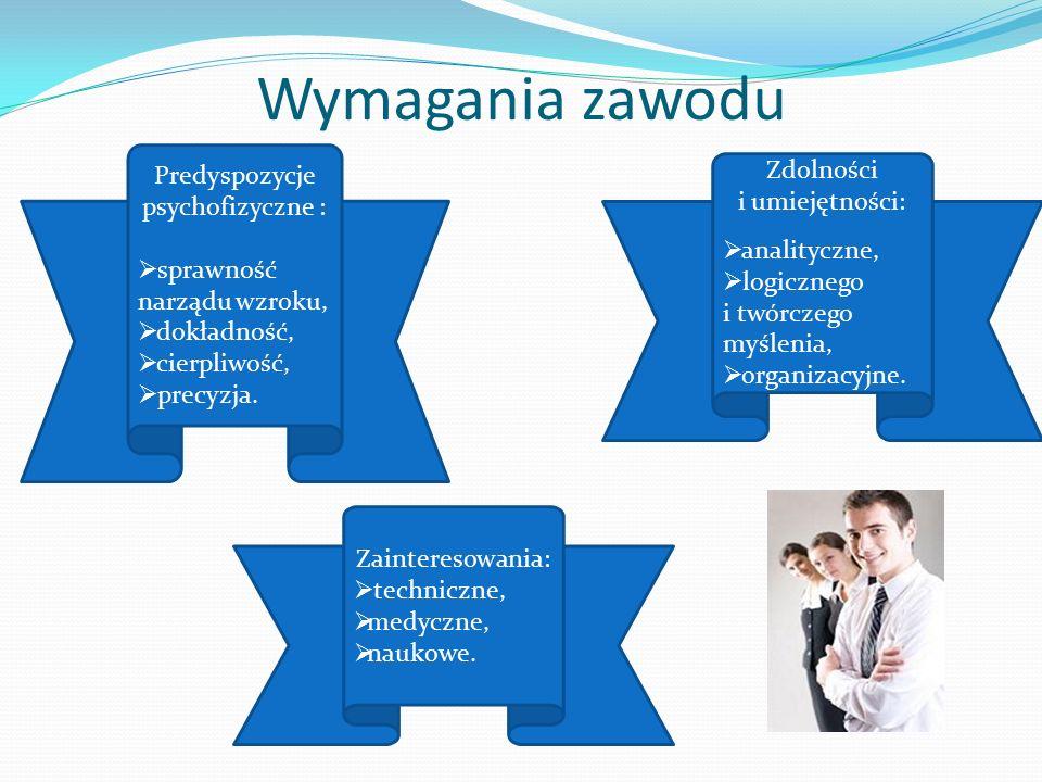 Wymagania zawodu Zainteresowania:  techniczne,  medyczne,  naukowe.