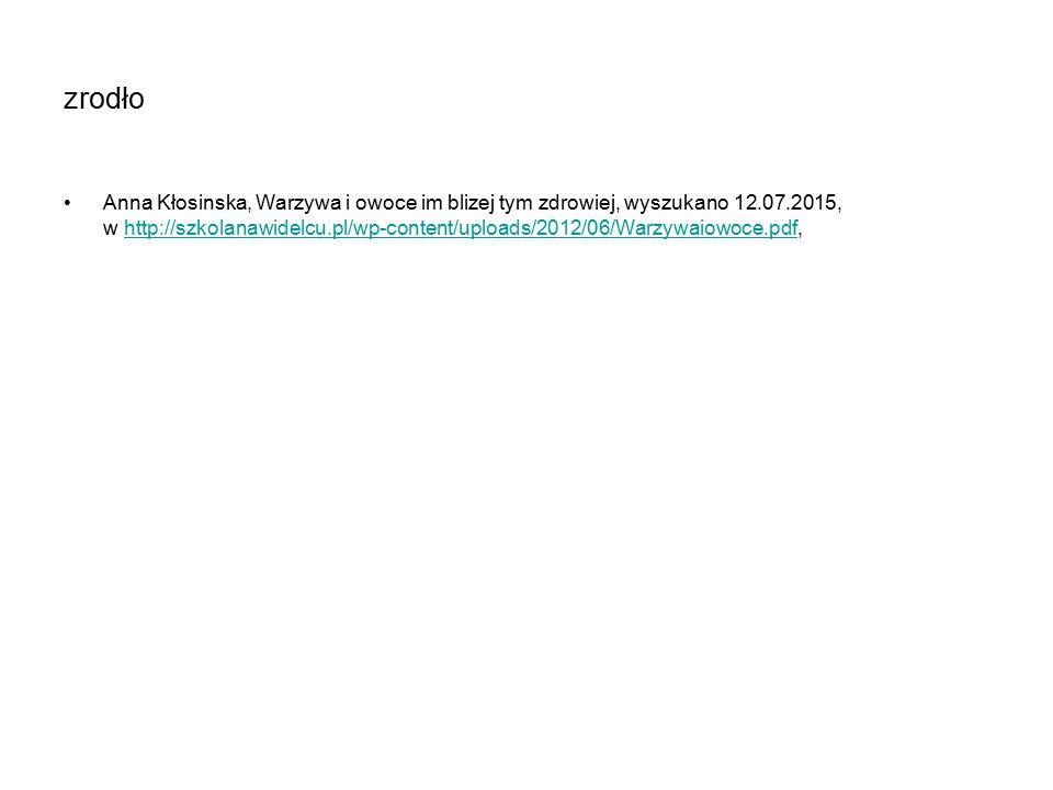 zrodło Anna Kłosinska, Warzywa i owoce im blizej tym zdrowiej, wyszukano 12.07.2015, w http://szkolanawidelcu.pl/wp-content/uploads/2012/06/Warzywaiowoce.pdf,http://szkolanawidelcu.pl/wp-content/uploads/2012/06/Warzywaiowoce.pdf