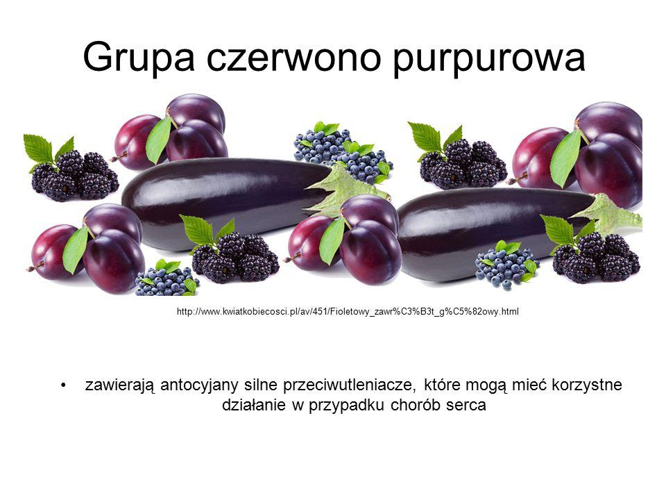 Grupa czerwono purpurowa zawierają antocyjany silne przeciwutleniacze, które mogą mieć korzystne działanie w przypadku chorób serca http://www.kwiatko