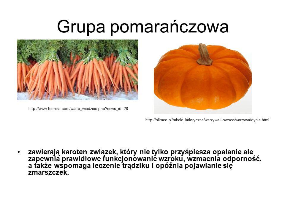 Grupa pomarańczowa zawierają karoten związek, który nie tylko przyśpiesza opalanie ale zapewnia prawidłowe funkcjonowanie wzroku, wzmacnia odporność, a także wspomaga leczenie trądziku i opóźnia pojawianie się zmarszczek.