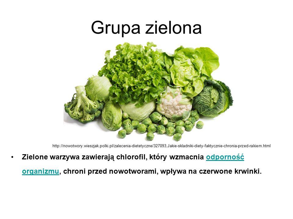 Grupa zielona Zielone warzywa zawierają chlorofil, który wzmacnia odporność organizmu, chroni przed nowotworami, wpływa na czerwone krwinki.odporność organizmu http://nowotwory.wieszjak.polki.pl/zalecenia-dietetyczne/327093,Jakie-skladniki-diety-faktycznie-chronia-przed-rakiem.html