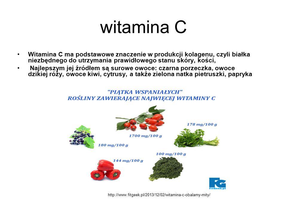 witamina C Witamina C ma podstawowe znaczenie w produkcji kolagenu, czyli białka niezbędnego do utrzymania prawidłowego stanu skóry, kości, Najlepszym jej źródłem są surowe owoce: czarna porzeczka, owoce dzikiej róży, owoce kiwi, cytrusy, a także zielona natka pietruszki, papryka http://www.fitgeek.pl/2013/12/02/witamina-c-obalamy-mity/