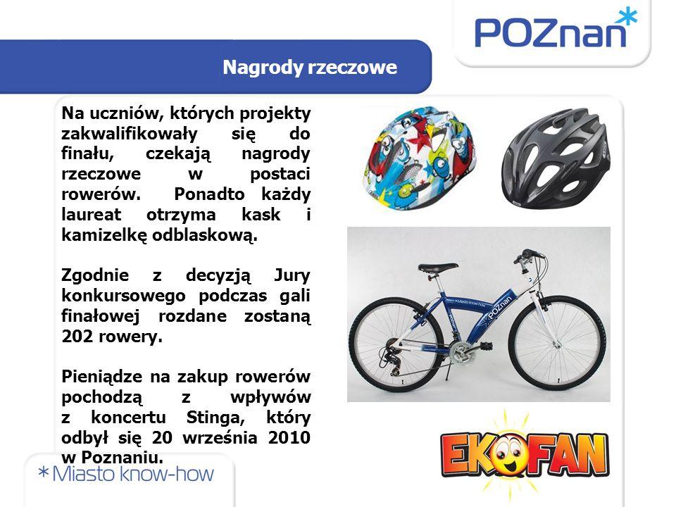 Na uczniów, których projekty zakwalifikowały się do finału, czekają nagrody rzeczowe w postaci rowerów.