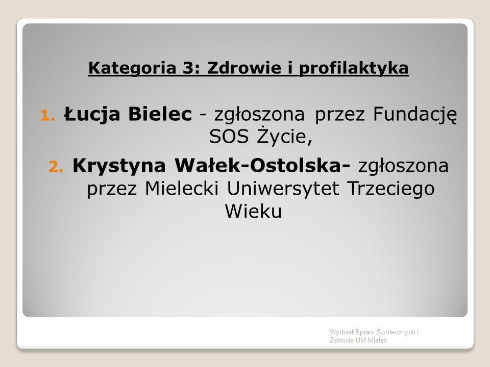 Kategoria 3: Zdrowie i profilaktyka 1. Łucja Bielec - zgłoszona przez Fundację SOS Życie, 2.