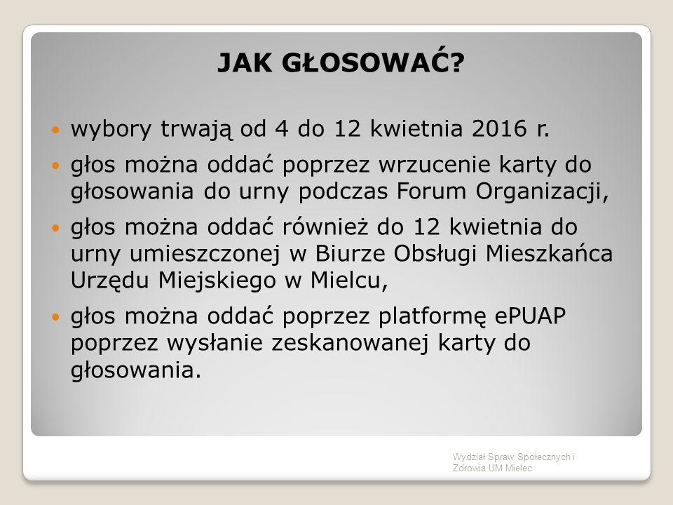 JAK GŁOSOWAĆ.wybory trwają od 4 do 12 kwietnia 2016 r.