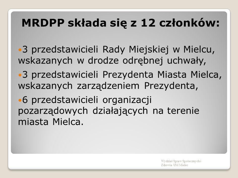 MRDPP składa się z 12 członków: 3 przedstawicieli Rady Miejskiej w Mielcu, wskazanych w drodze odrębnej uchwały, 3 przedstawicieli Prezydenta Miasta Mielca, wskazanych zarządzeniem Prezydenta, 6 przedstawicieli organizacji pozarządowych działających na terenie miasta Mielca.
