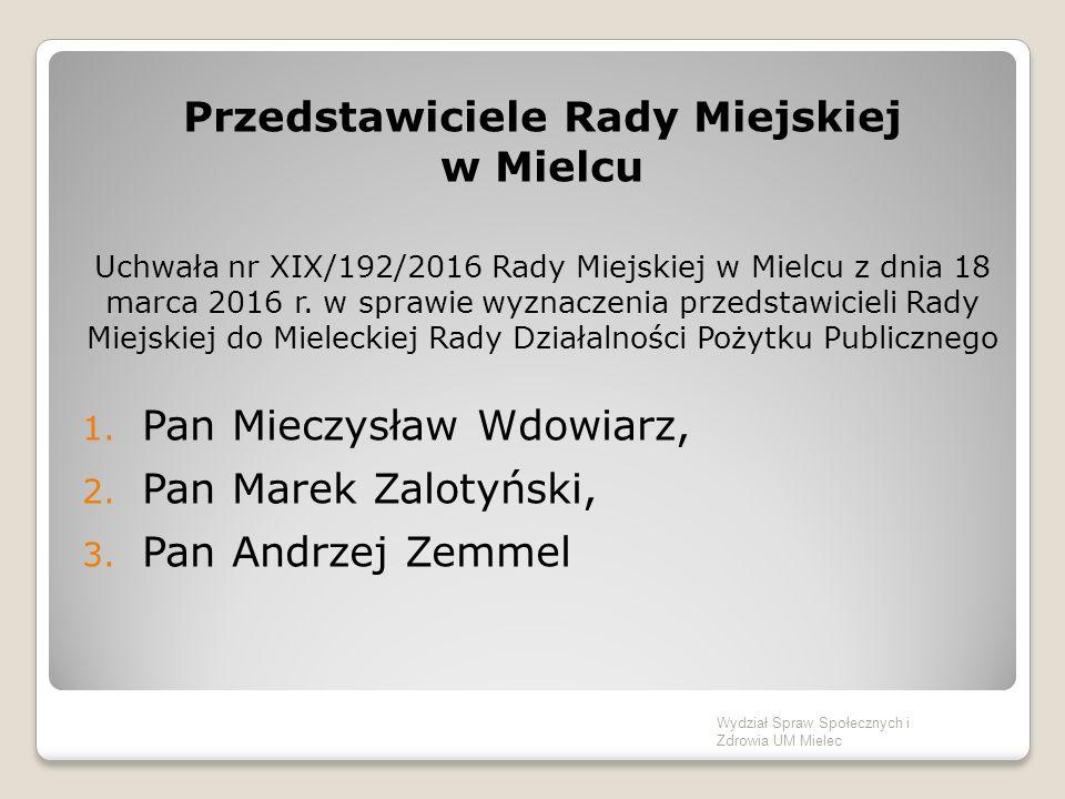 Przedstawiciele Rady Miejskiej w Mielcu Uchwała nr XIX/192/2016 Rady Miejskiej w Mielcu z dnia 18 marca 2016 r.