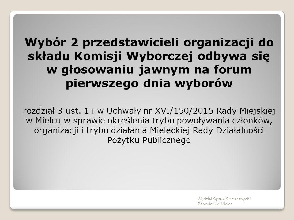 Prezentacja Kandydatów do Mieleckiej Rady Działalności Pożytku Publicznego – 5 minut na wystąpienie Wydział Spraw Społecznych i Zdrowia UM Mielec