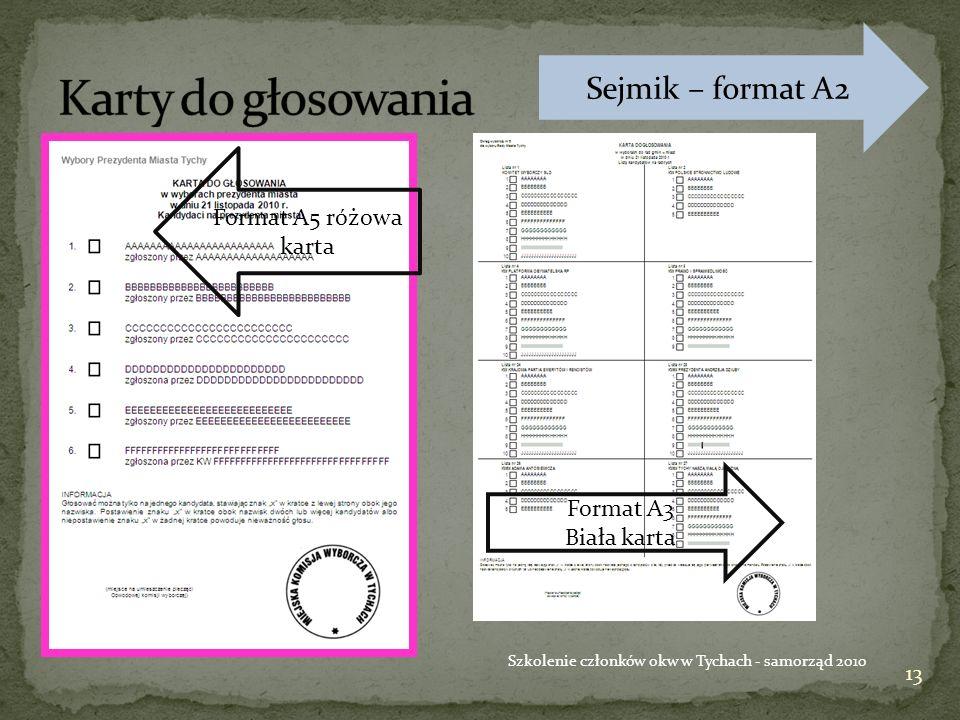 13 Szkolenie członków okw w Tychach - samorząd 2010 Format A5 różowa karta Format A3 Biała karta Sejmik – format A2
