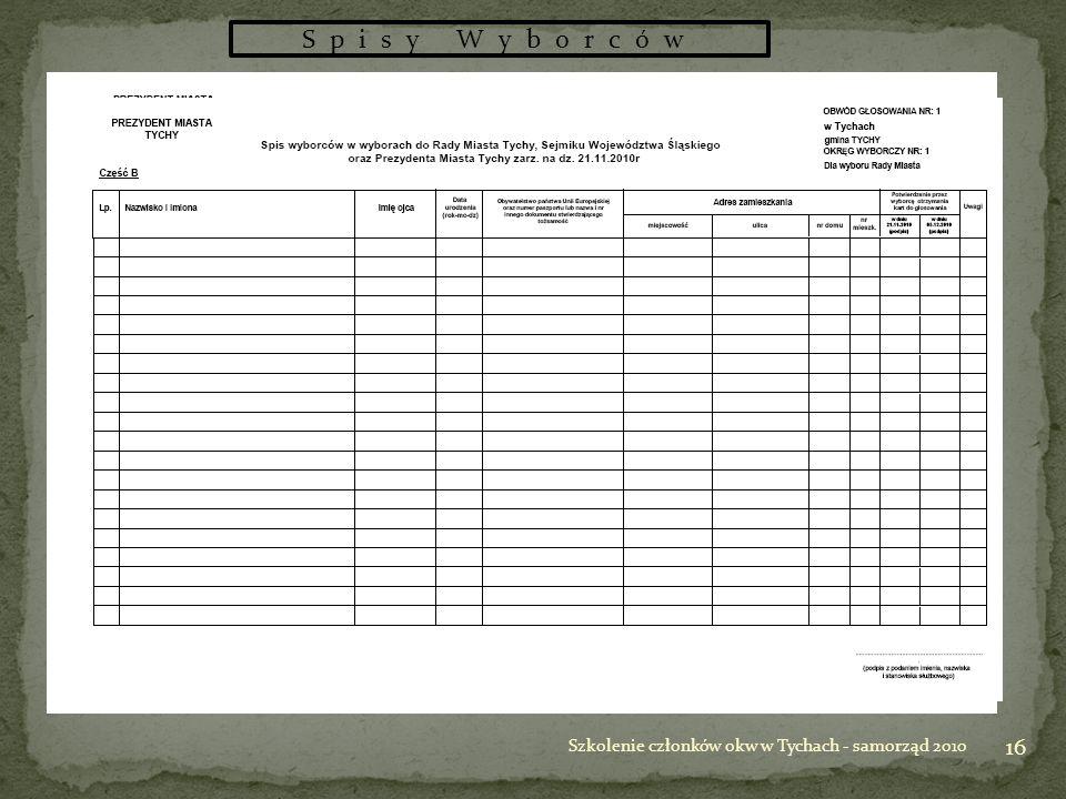 16 Szkolenie członków okw w Tychach - samorząd 2010 Spisy Wyborców
