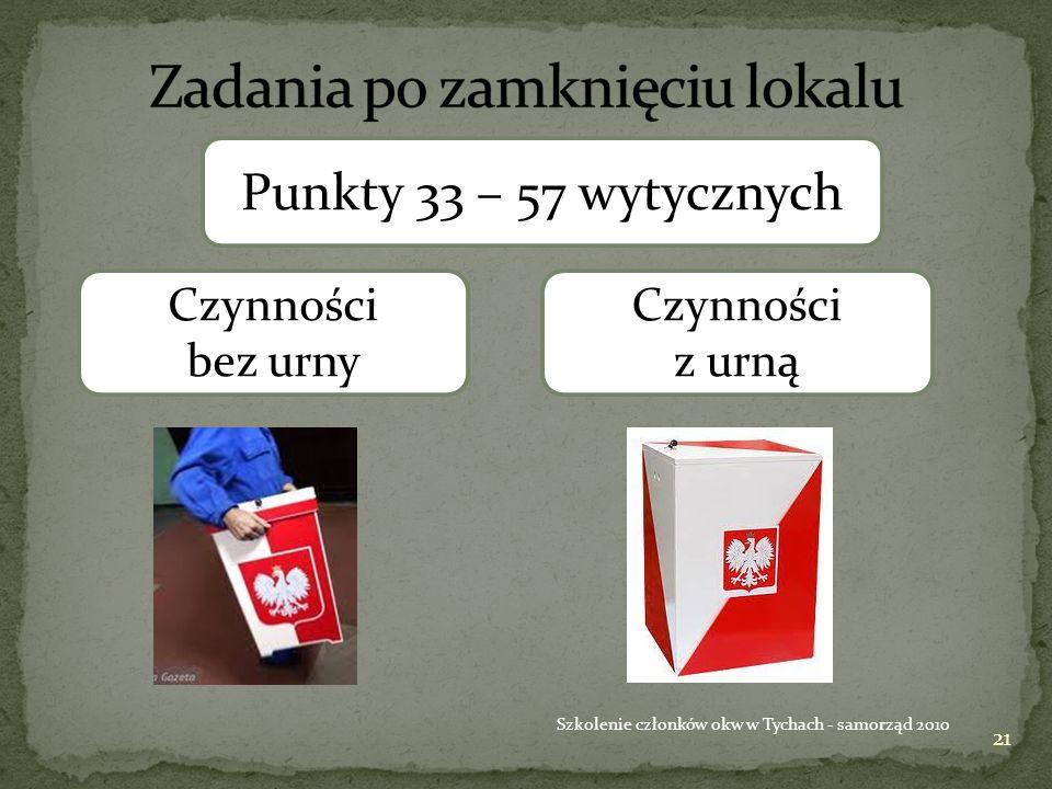 21 Szkolenie członków okw w Tychach - samorząd 2010 Punkty 33 – 57 wytycznych Czynności bez urny Czynności z urną