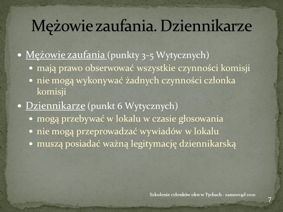 28 Szkolenie członków okw w Tychach - samorząd 2010 Głos nieważny Głos ważny Okw nr Ko misj a .