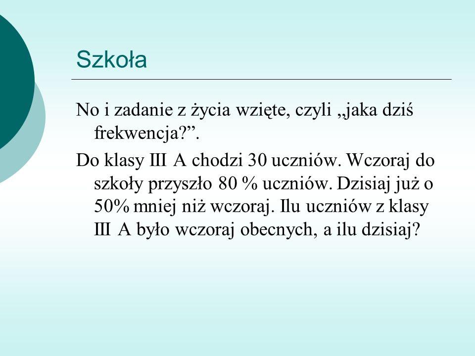 """Szkoła No i zadanie z życia wzięte, czyli """"jaka dziś frekwencja ."""