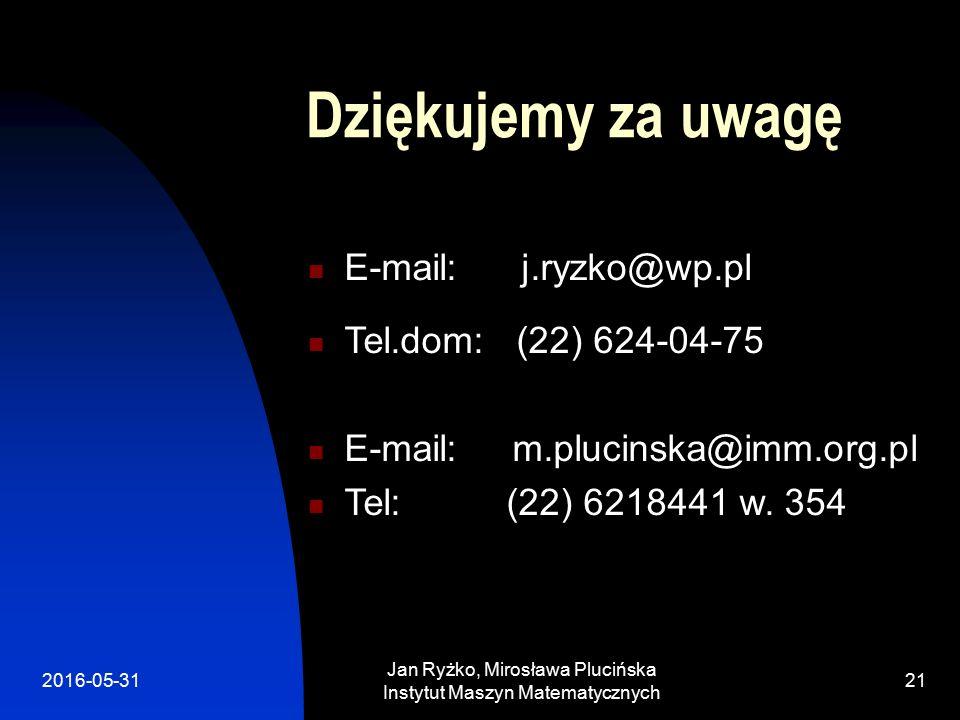 2016-05-31 Jan Ryżko, Mirosława Plucińska Instytut Maszyn Matematycznych 21 Dziękujemy za uwagę E-mail: j.ryzko@wp.pl Tel.dom: (22) 624-04-75 E-mail: m.plucinska@imm.org.pl Tel: (22) 6218441 w.