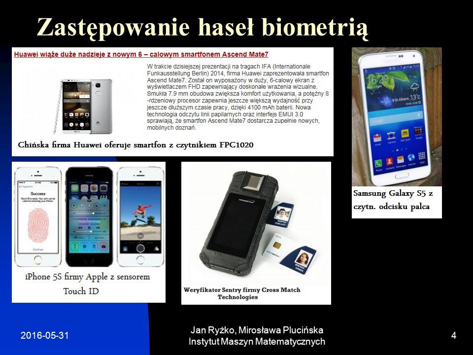 Zastępowanie haseł biometrią Jan Ryżko, Mirosława Plucińska Instytut Maszyn Matematycznych 2016-05-314