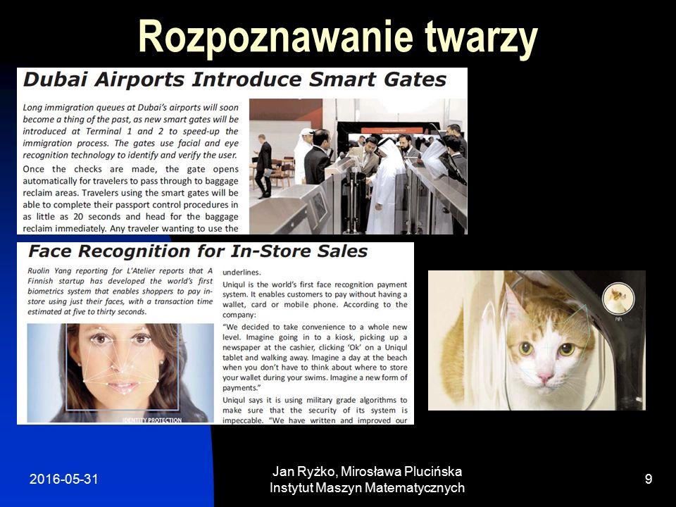 2016-05-31 Jan Ryżko, Mirosława Plucińska Instytut Maszyn Matematycznych 9 Rozpoznawanie twarzy