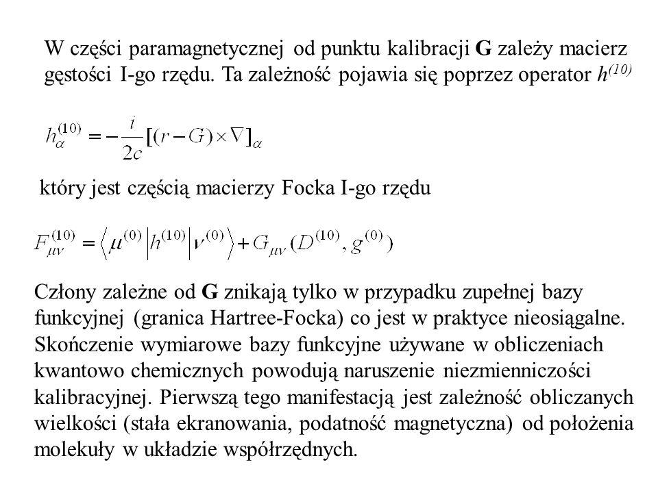 W części paramagnetycznej od punktu kalibracji G zależy macierz gęstości I-go rzędu.