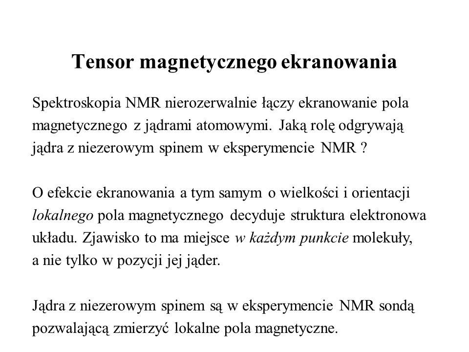 Tensor magnetycznego ekranowania Spektroskopia NMR nierozerwalnie łączy ekranowanie pola magnetycznego z jądrami atomowymi.