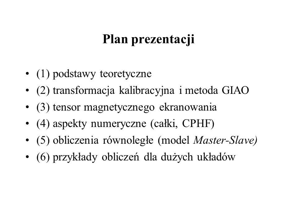 Plan prezentacji (1) podstawy teoretyczne (2) transformacja kalibracyjna i metoda GIAO (3) tensor magnetycznego ekranowania (4) aspekty numeryczne (całki, CPHF) (5) obliczenia równoległe (model Master-Slave) (6) przykłady obliczeń dla dużych układów