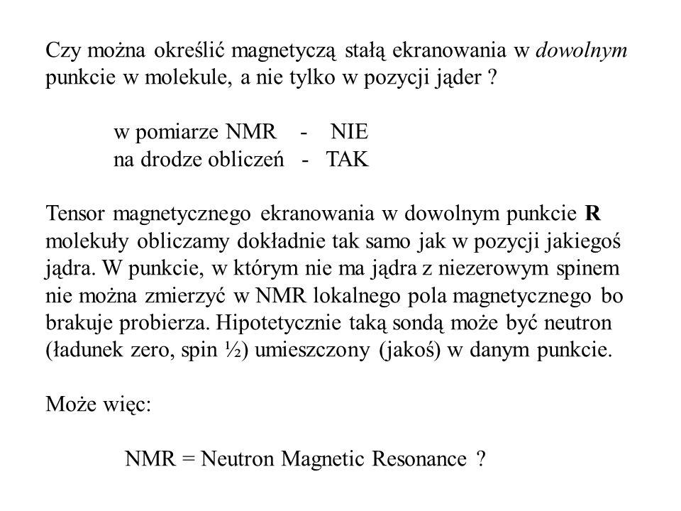 Czy można określić magnetyczą stałą ekranowania w dowolnym punkcie w molekule, a nie tylko w pozycji jąder .