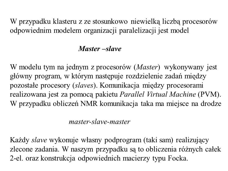 W przypadku klasteru z ze stosunkowo niewielką liczbą procesorów odpowiednim modelem organizacji paralelizacji jest model Master –slave W modelu tym na jednym z procesorów (Master) wykonywany jest główny program, w którym następuje rozdzielenie zadań między pozostałe procesory (slaves).
