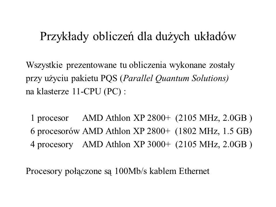 Przykłady obliczeń dla dużych układów Wszystkie prezentowane tu obliczenia wykonane zostały przy użyciu pakietu PQS (Parallel Quantum Solutions) na klasterze 11-CPU (PC) : 1 procesor AMD Athlon XP 2800+ (2105 MHz, 2.0GB ) 6 procesorów AMD Athlon XP 2800+ (1802 MHz, 1.5 GB) 4 procesory AMD Athlon XP 3000+ (2105 MHz, 2.0GB ) Procesory połączone są 100Mb/s kablem Ethernet