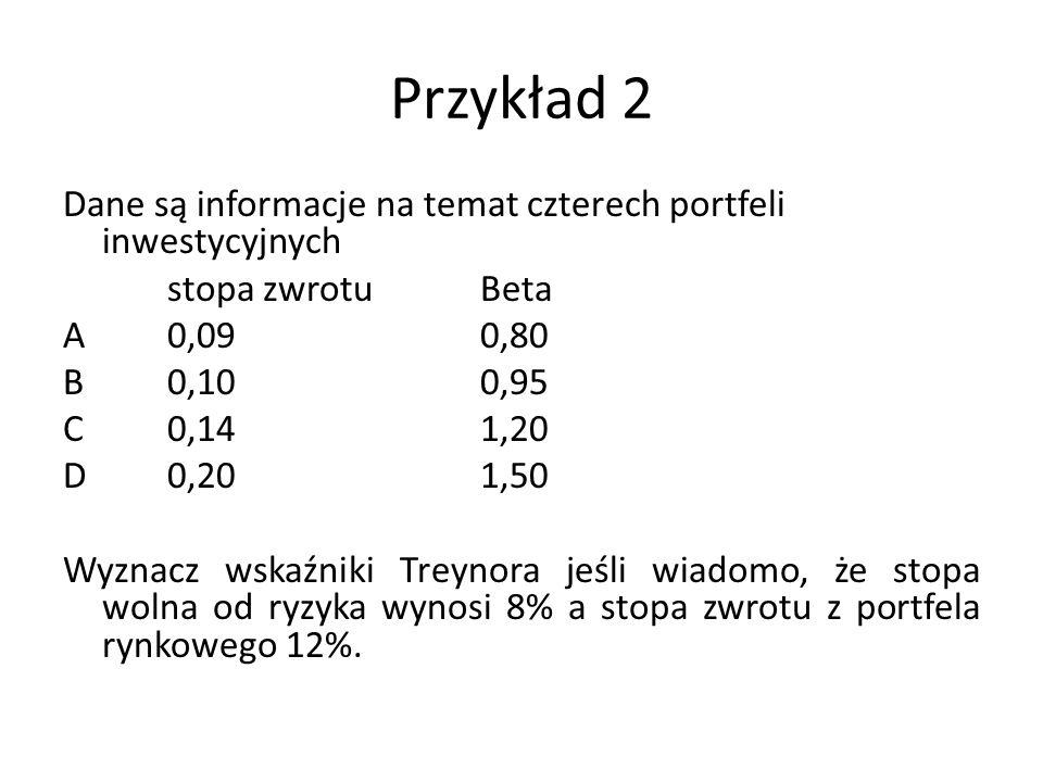 Przykład 2 Dane są informacje na temat czterech portfeli inwestycyjnych stopa zwrotuBeta A0,090,80 B0,100,95 C0,141,20 D0,201,50 Wyznacz wskaźniki Tre