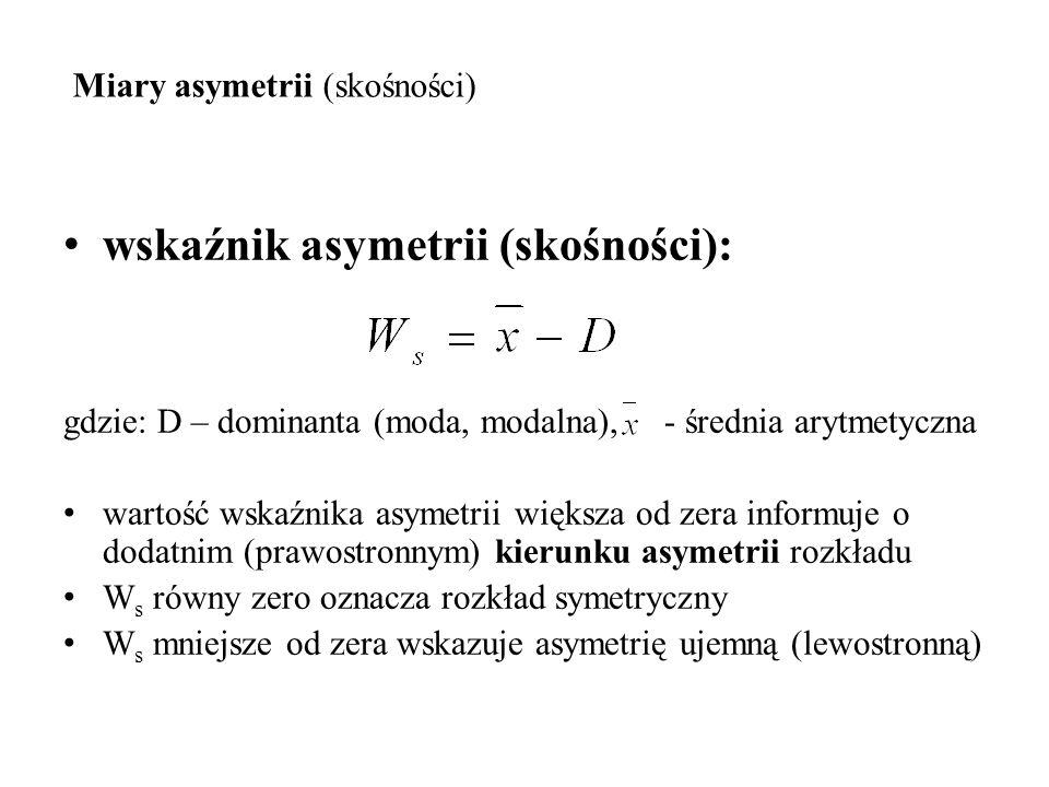 Miary asymetrii (skośności) wskaźnik asymetrii (skośności): gdzie: D – dominanta (moda, modalna), - średnia arytmetyczna wartość wskaźnika asymetrii w
