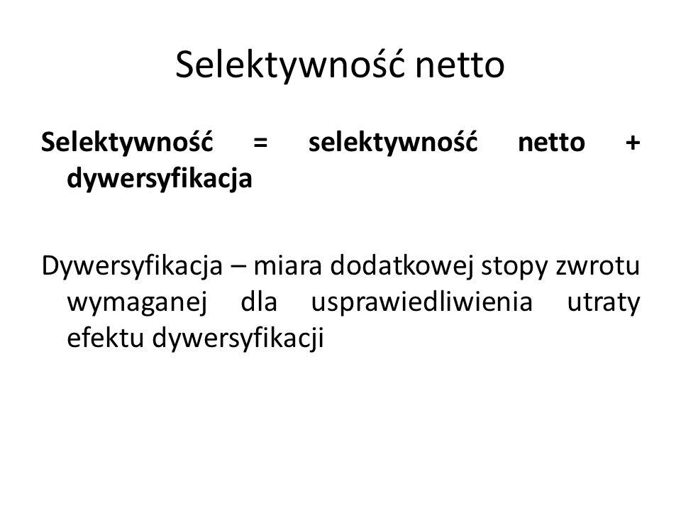 Selektywność netto Selektywność = selektywność netto + dywersyfikacja Dywersyfikacja – miara dodatkowej stopy zwrotu wymaganej dla usprawiedliwienia u