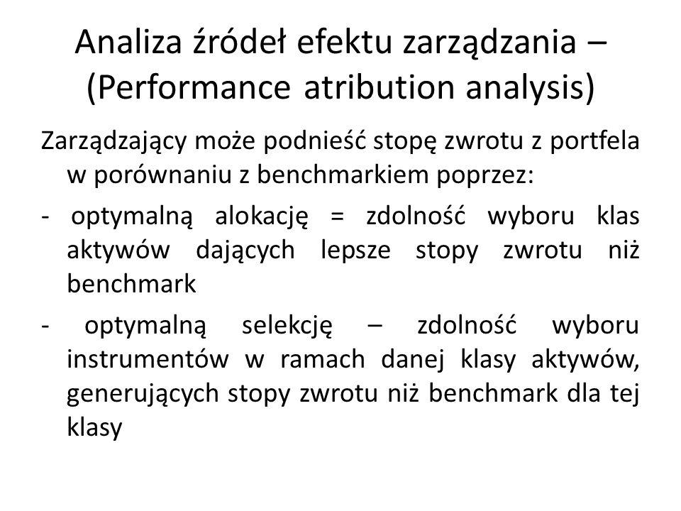 Analiza źródeł efektu zarządzania – (Performance atribution analysis) Zarządzający może podnieść stopę zwrotu z portfela w porównaniu z benchmarkiem p