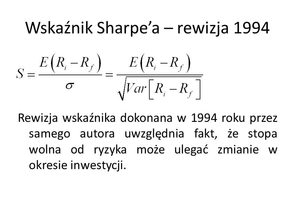 Wskaźnik Sharpe'a – rewizja 1994 Rewizja wskaźnika dokonana w 1994 roku przez samego autora uwzględnia fakt, że stopa wolna od ryzyka może ulegać zmia