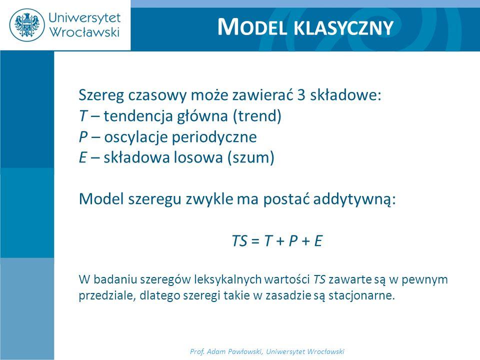 Szereg czasowy może zawierać 3 składowe: T – tendencja główna (trend) P – oscylacje periodyczne E – składowa losowa (szum) Model szeregu zwykle ma pos