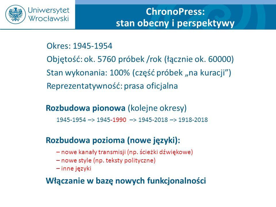 ChronoPress: stan obecny i perspektywy Rozbudowa pionowa (kolejne okresy) 1945-1954 –> 1945-1990 –> 1945-2018 –> 1918-2018 Rozbudowa pozioma (nowe jęz