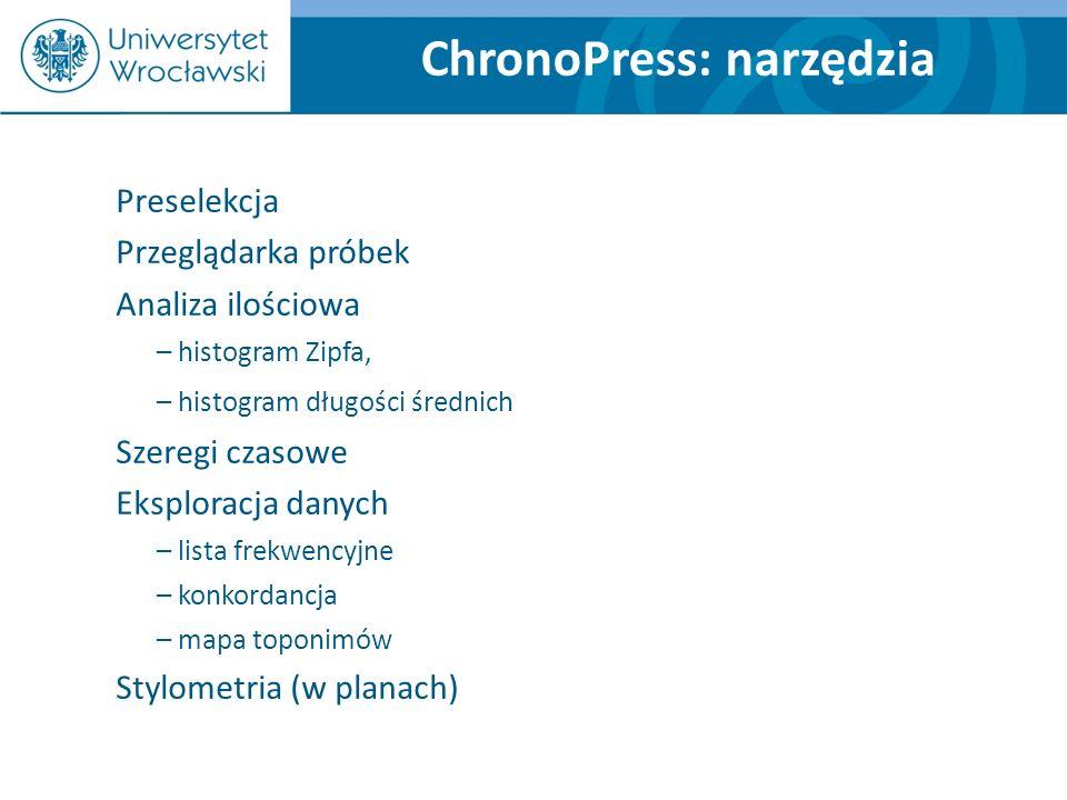 ChronoPress: narzędzia Preselekcja Przeglądarka próbek Analiza ilościowa – histogram Zipfa, – histogram długości średnich Szeregi czasowe Eksploracja