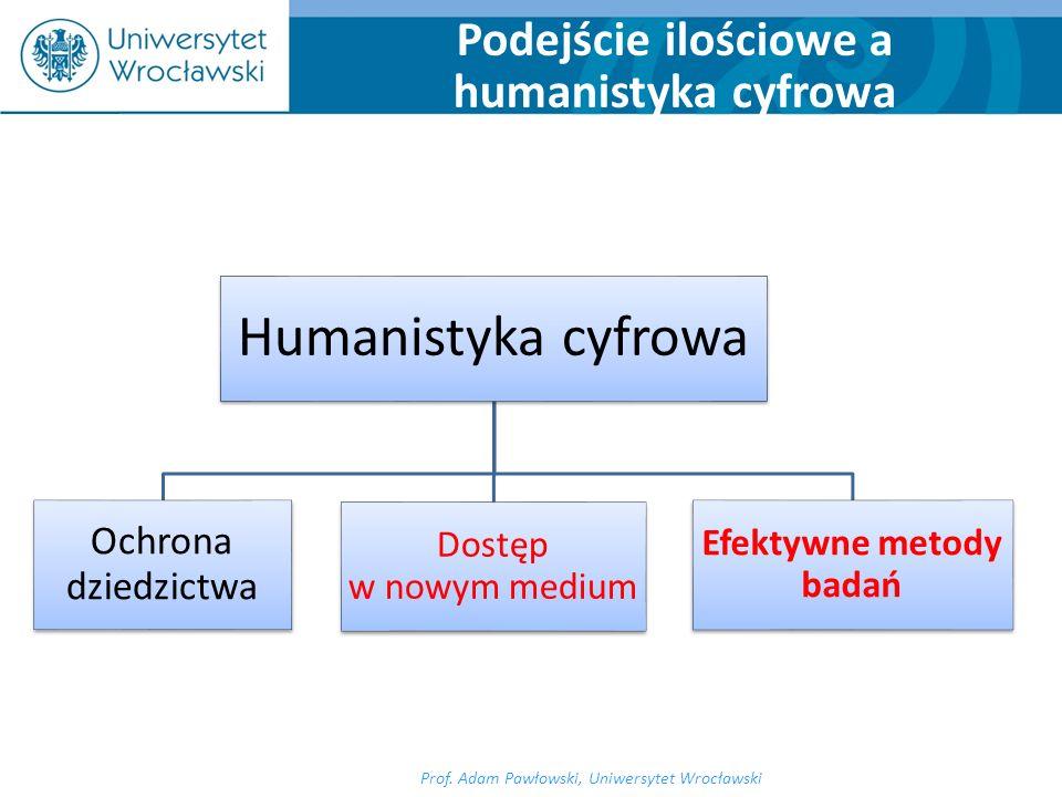 Prof. Adam Pawłowski, Uniwersytet Wrocławski Podejście ilościowe a humanistyka cyfrowa Humanistyka cyfrowa Ochrona dziedzictwa Dostęp w nowym medium E
