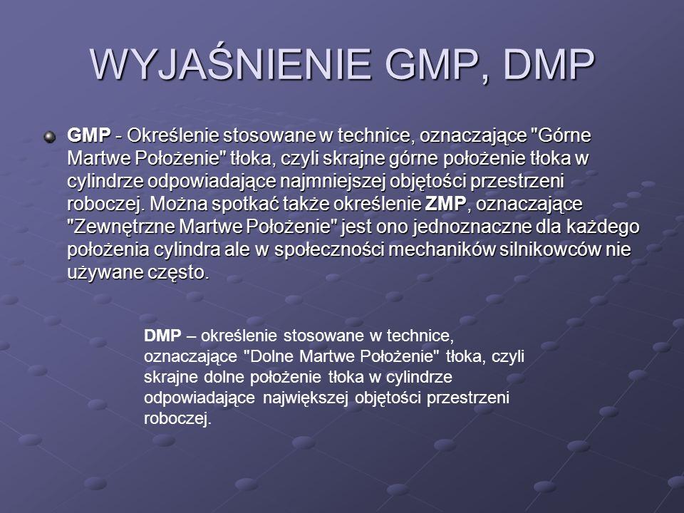 WYJAŚNIENIE GMP, DMP GMP - Określenie stosowane w technice, oznaczające Górne Martwe Położenie tłoka, czyli skrajne górne położenie tłoka w cylindrze odpowiadające najmniejszej objętości przestrzeni roboczej.