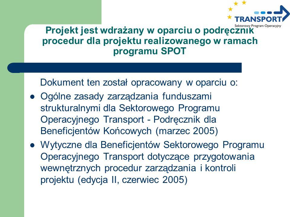 Projekt jest wdrażany w oparciu o podręcznik procedur dla projektu realizowanego w ramach programu SPOT Dokument ten został opracowany w oparciu o: Og