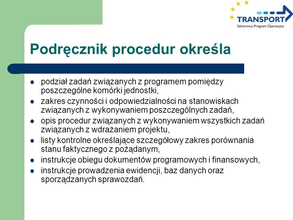 Podręcznik procedur określa podział zadań związanych z programem pomiędzy poszczególne komórki jednostki, zakres czynności i odpowiedzialności na stan
