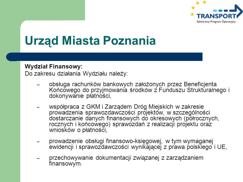 Urząd Miasta Poznania Wydział Finansowy: Do zakresu działania Wydziału należy: – obsługa rachunków bankowych założonych przez Beneficjenta Końcowego d