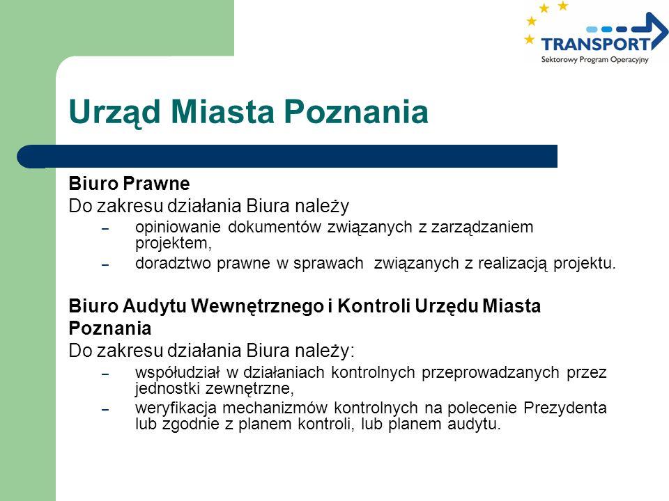 Urząd Miasta Poznania Biuro Prawne Do zakresu działania Biura należy – opiniowanie dokumentów związanych z zarządzaniem projektem, – doradztwo prawne