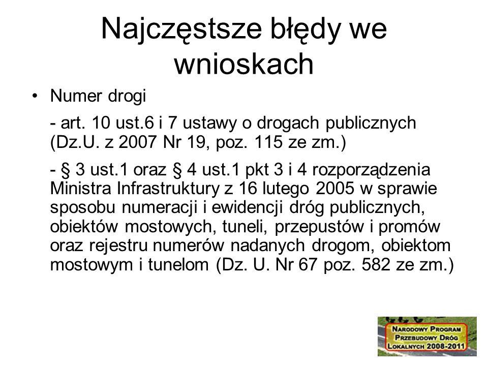 Numer drogi - art. 10 ust.6 i 7 ustawy o drogach publicznych (Dz.U.